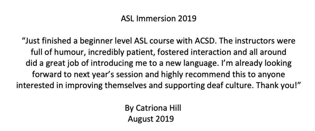 ASL Immersion Comment